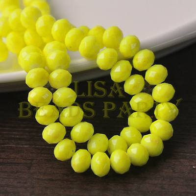 Hot 50pcs 6mm Glass With Color Coated Rondelle Faceted Loose Beads Yellow