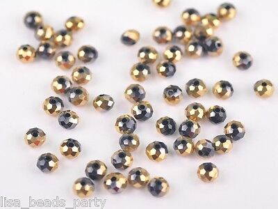 72pcs 6x4mm Faceted Rondelle Loose Spacer Crystal Glass Beads Gold Half Black