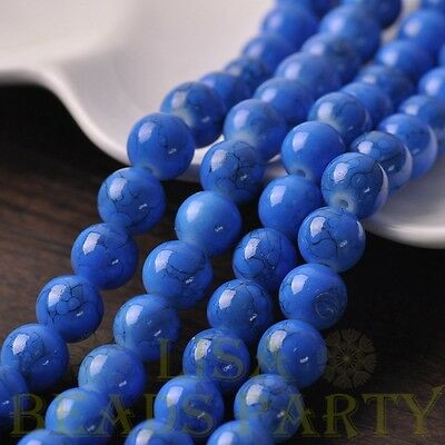 Hot 15pcs 10mm Round Charms Loose Spacer Glass Beads Jewelry Making Deep Blue