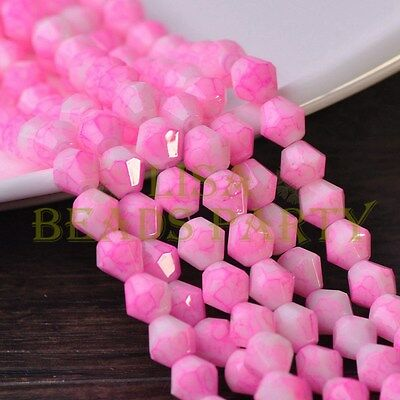 Hot 50pcs 6mm Bicone Faceted Glass Loose Spacer Colorized Beads Deep Pink