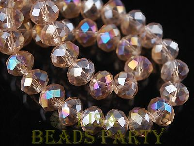Hot 5pcs 14X10mm Big Crystal Glass Rondelle Faceted Loose Beads Lt Champagne AB