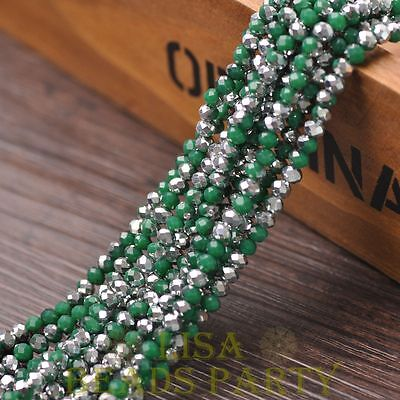 Hot 100pcs 4X3mm Glass Rondelle Faceted Loose Beads Opaque Green & Silver