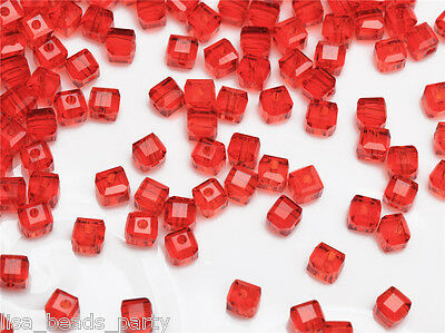 50pcs 4mm Cube Square Faceted Crystal Glass Findings Loose Spacer Beads Red New