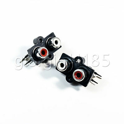 5x Panel PCB Mount 2 Way RCA Female Jack Audio Coaxial Connector Socket Stereo
