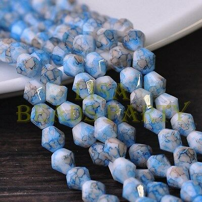 Hot 50pcs 6mm Bicone Faceted Glass Loose Spacer Colorized Beads Deep Blue
