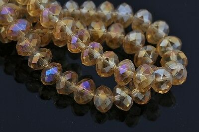 10pcs 14mm Rondelle Faceted Crystal Glass Beads Jewelry Making Gold Champagne AB