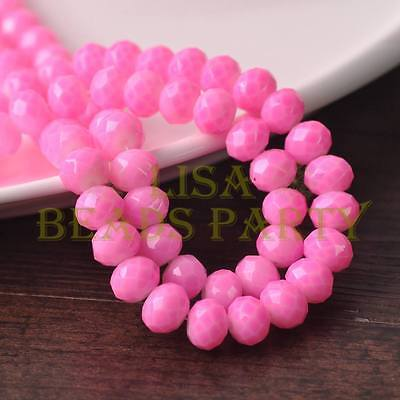 Hot 30pcs 8mm Glass With Color Coated Rondelle Faceted Loose Beads Light Pink