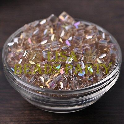 25pcs 6mm Cube Square DIY Crystal Glass Loose Spacer Beads Lt Champagne AB