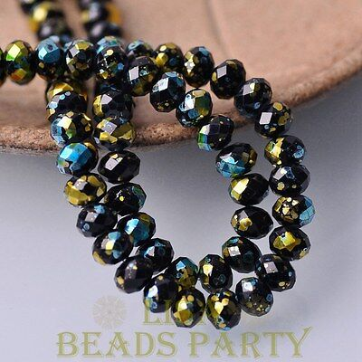 30pcs 8mm Glass Black Rondelle Faceted Loose Spacer Beads Lake Blue&Gold