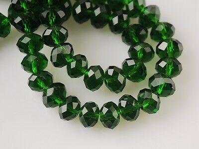 72pcs Wholesale 6mm Faceted Rondelle Loose Spacer Crystal Glass Beads Dark Green