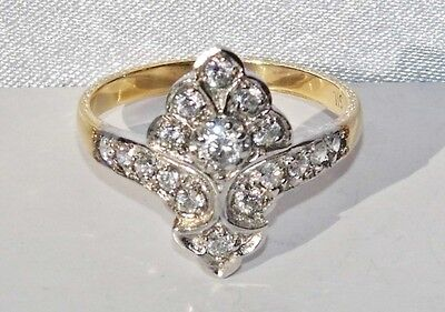 Art Deco 9ct Yellow Gold on Silver Paste Set Cluster Ring - size Q