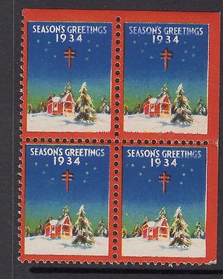 UNITED STATES  1934  Christmas Seals In Block of 4 MUH