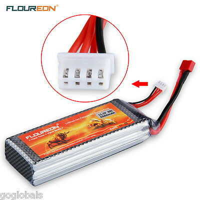 FLOUREON RC Lipo Battery 11.1V 5500mAh 3S 35C Deans for RC Helicopter Truck Boat
