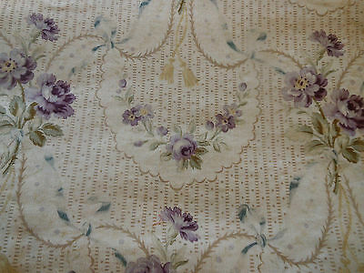 Antique French Lavender & Blue Roses Floral Garland Cotton Fabric  ~ stunning