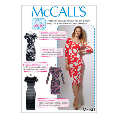 McCalls Sewing Pattern Misses Knit Bodycon Dresses | M7531