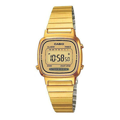New Casio Stainless Steel Unisex Quartz Watch With Gold Dial Digital Display