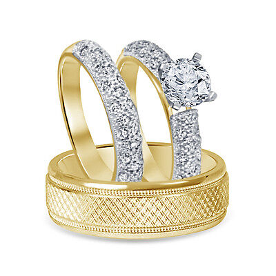9k Yellow Gold Plated 2.44CT Simulated Diamond His & Her Wedding Trio Ring Set