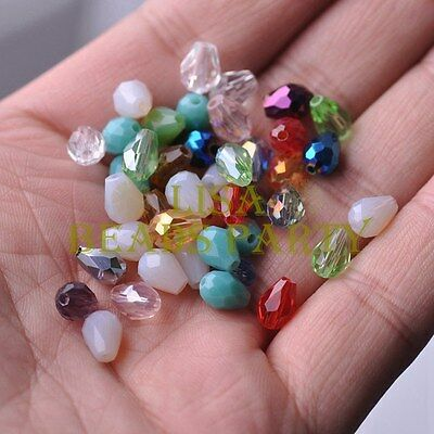 New 50pcs 7X5mm Teardrop Faceted Crystal Glass Spacer Loose Beads Random Mixed