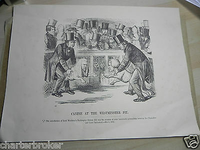 1862 print ofCanine At The Westminster Pit. Lord Chelmsford & Lord Westbury