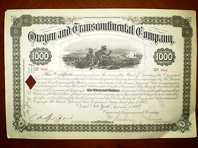The Oregon and Transcontinental Company  $1000 Bond  cancelled 1882
