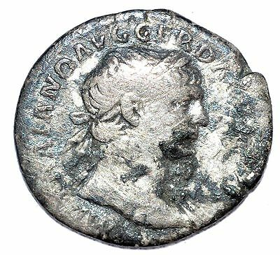 AUTHENTIC TRAJAN ROMAN COIN, AR Silver Denarius, Rv. Fortuna - A640
