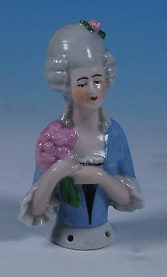 Antique German Porcelain Pin Cushion Half Doll Antoinette Pompadour Figure c1920