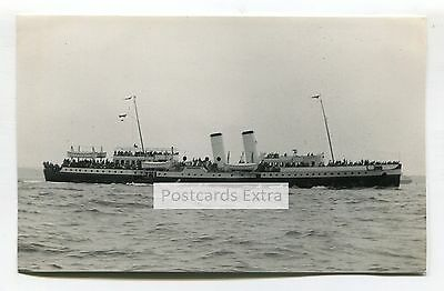 """Paddle steamer """"Bristol Queen"""" at sea - old postcard-sized photo"""