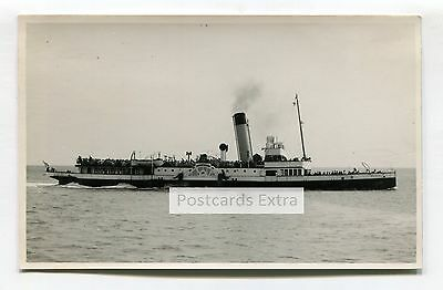 """Paddle steamer """"Monarch"""" at sea with passengers - old postcard-sized photo"""