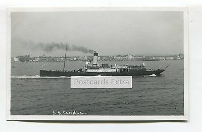 """Paddle steamer """"Consul"""" off the Weymouth coast? - old postcard-sized photo"""