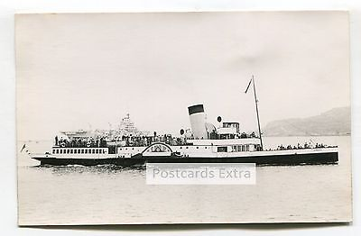 """Paddle steamer """"Embassy"""" at sea with passengers - old postcard-sized photo"""