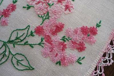 """Vintage Linen Table Runner Pink French Knot Flowers Crochet Lace 39"""""""