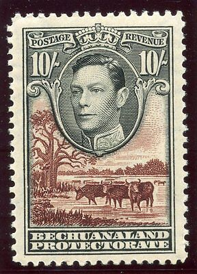 Bechuanaland 1937 KGVI 10s black & red-brown MLH. SG 128. Sc 136.