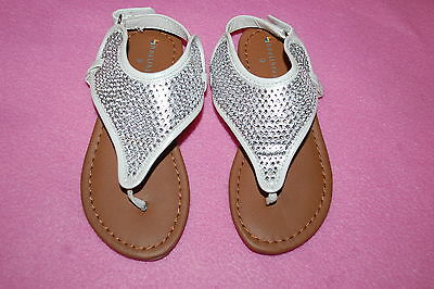2496c5fac214 Baby Toddler Girls WHITE w  SILVER RHINESTONE V THONG SANDALS Ankle Strap 5