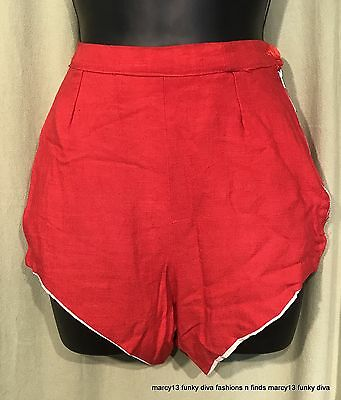 Vintage 40's 50's Red High Cut High Waist Side Zip Short Shorts Rockabilly Vixen