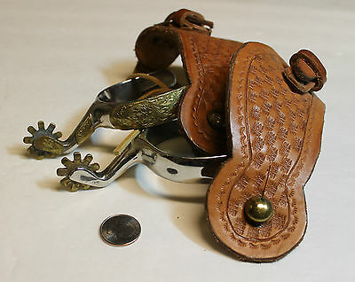 Vintage Texas Style Spurs With Ornamentation Small Rowels Korea 1950`s-1960`s ?