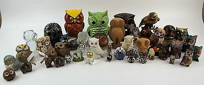 Assorted Owl Figurine Collection Metal Ceramic Wood Glass Stone Shell-Used
