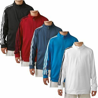 Junior 2016 Adidas 3-Stripes Sleeve 1/4 Zip Pullover Training Kids Golf Sweater