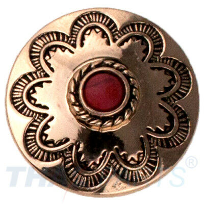 Concho #146 22mm Western Blume Flower Gold mit Stein Rot Conchos Concha