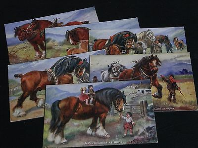 SET OF SIX NORAH DRUMMOND SIGNED TUCK POSTCARDS - CLYDESDALES, OILETTE No. 3109.