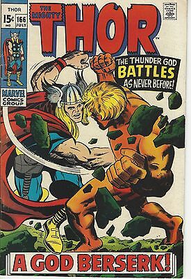 Thor #166, Marvel 1969, Vg/fn Condition, 2Nd Appearance Of Warlock