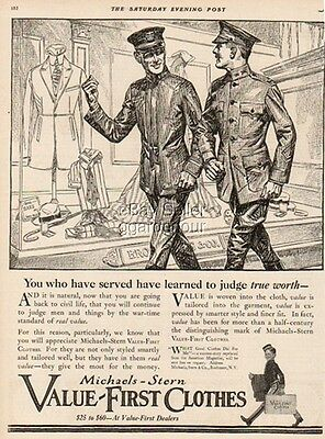 1919 Michaels Stern Value First Clothes Rochester NY-WWI Military Uniform Art Ad