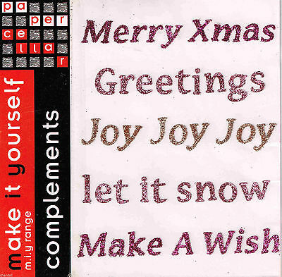 Paper Cellar Complements ***PINKS XMAS WORDS GLITTER***