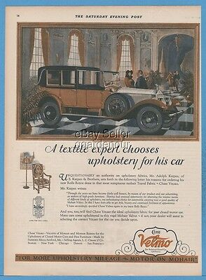1927 Chase Velmo Car Upholstery Adolph Karpen Chicago Rolls Royce Town Car Ad