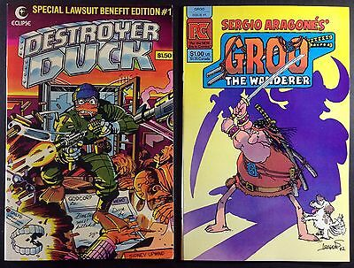 Destroyer Duck #1 & Groo #1 (1982) 1st appearance of Groo 2 issue lot