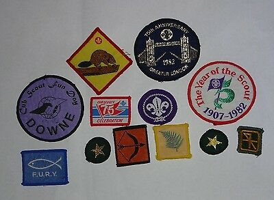 Uk Scouting: 12 Assorted Boy Scouts Cloth Badges/patches - As Photo