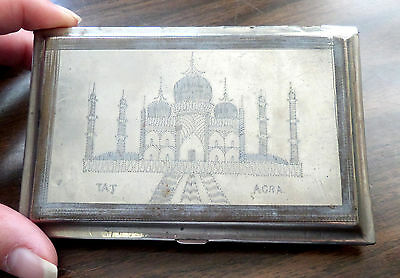 Vintage Silver Engraved India  Map & Taj Agra Cigarette Case Box