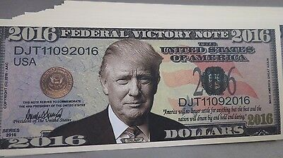 Wholesale Lot Of 100 2016 Donald Trump Victory President Fake Novelty Money Usa