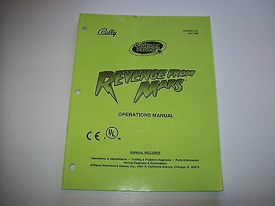 Bally REVENGE FROM MARS Original 1999 Pinball Machine Service Repair Manual