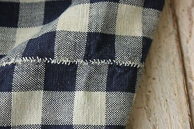 Antique French linen country check blue fabric curtain 19th century cotton