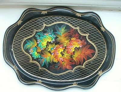 Old Vintage Antique Russian Lacquer Hand Painted Tray Fruit Tin Metal Tole ware